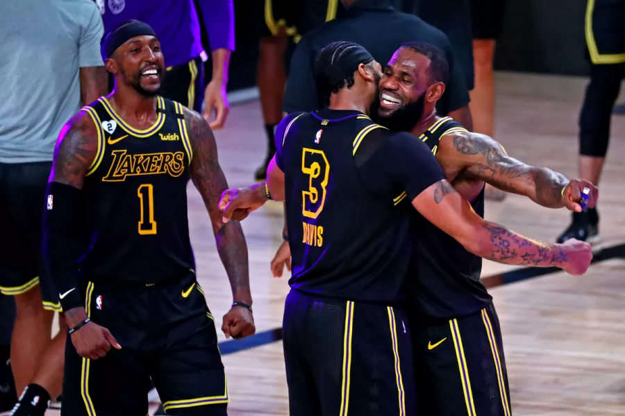 LeBron (23) & AD (3) embrace each other after an emotional Game 2 win